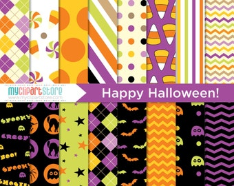 Digital Paper - Happy Halloween, Scrapbook Paper, Digital Pattern, Commercial Use, JPEG, PDF