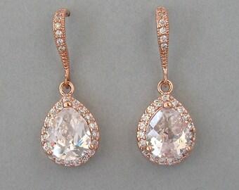 Wedding Jewelry, Bridal Earrings, Rose Gold Plated Over Brass Zircon Earrings, Drop Earrings, Rose Gold Earrings, Bridesmaids Gift - DK572