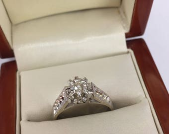 Vintage 18ct White Gold Diamond Solitaire Engagement Ring Size O