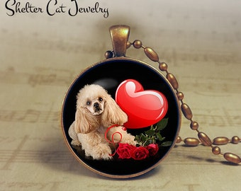 "Poodle Valentine Necklace - 1-1/4"" Circle Pendant or Key Ring - Puppy with Heart - Holiday Present or Gift for Dog Lover"