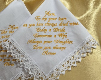 Personalized Wedding Handkerchief for Mom from daughter Customized embroidered hankie for Mother of the Bride Custom Hankerchief for Mom