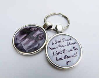 Personalised Glass Dome Best Friend Keyring Birthday Gift idea -Photo Insert