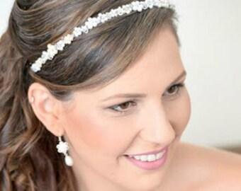 WEDDING PEARL CROWN, Bridal Pearl Tiara, Wedding Pearl Headband, Bridal Pearl Headband, Bridal Pearl Headpiece, Wedding Hair Crown headband