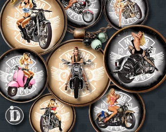 GIRL ON BIKE 1 id Digital Collage Sheet Printable Instant Download for art jewelry scrapbooking bottle caps magnets pins