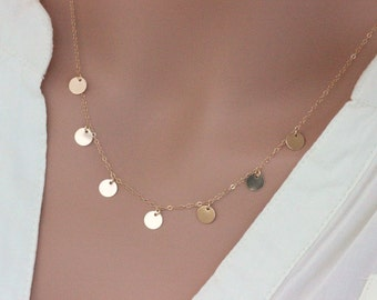 Gold Disc Necklace - little circle disc necklace gold chain - Gold coin - Nancy Botwin weed - Coin Drop Necklace - Bridal Jewelry -Coin drop