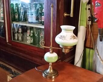 Vintage Brass U0026 Hand Painted Porcelain Student Lawyer Desk Parlor Electric  Lamp