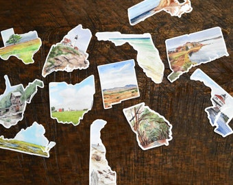 travel sticker set - adventure stickers - wanderlust sticker - mountain biking - waterproof - outdoorsy gift - hiking gear - camping sticker