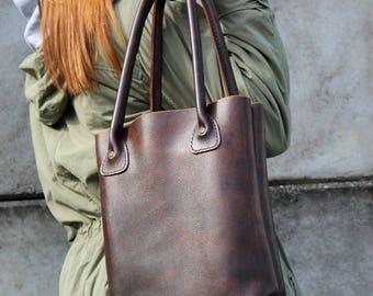 Ledereinkaufstasche, Tasche, Leder-Shopper-Tasche, Tasche für jeden Tag, Laptop-Tasche, Leder Umhängetasche.