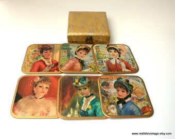 Vintage Coasters from England-  Set of Six Vintage Coasters, Win El Ware British Coasters of Parisian Women, British Home Decor,