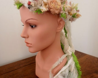 recycled silk, boho chic  tattered rose wreath, fairy princess, silk flower crown, necklace, by plumfish, neutrals