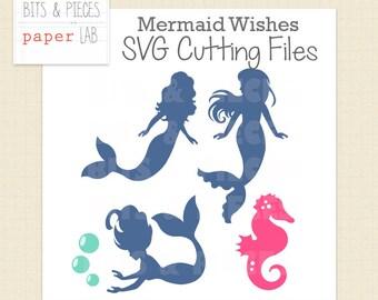 SVG Cutting File: Mermaid Wishes SVG, Mermaid SVG, Seahorse svg Mermaid Party