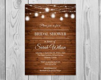 Bridal Shower Invitation Rustic, Bridal Shower Invitation Country, Bridal Shower Invitation Mason Jar,  Bridal Shower Invitation Maroon