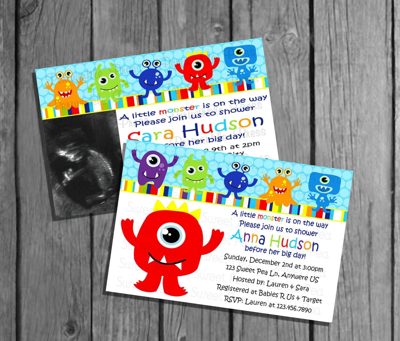 Little Monster Baby Shower Invitation No Pic/Big Monster