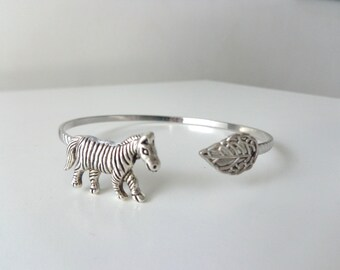 Zebra leaf bracelet cuff wrap style
