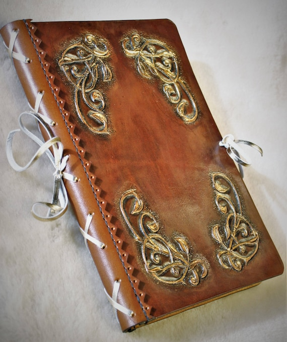 leather diary, grimoire, guestbook, fantasy, elven, romantic, for wedding, ceremony, memory