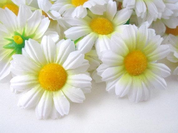 25 white gerbera daisy heads artificial silk flowers 175 mightylinksfo