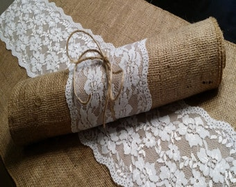 Burlap and Lace Table Runner, 14 inches wide Wedding, Party, Home Decor, Custom Wedding Decor Vintage Rustic Look