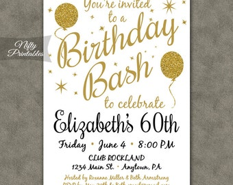 White party invitation printable white gold black tie 60th birthday invitations printable 60 white gold glitter balloons bday invitation sixty or any age 60 years sixtieth invites bal filmwisefo