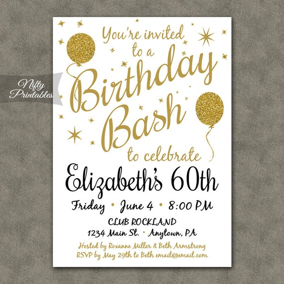 60th birthday invitations printable 60 white gold glitter like this item stopboris Image collections