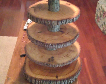 Rustic Wedding 5 Tier Natural Log Cupcake Stand And Cake Topper
