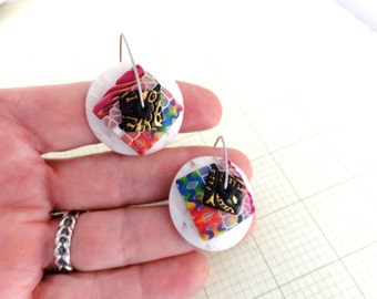 "Disk Earrings ""Sno Cones"" by Marie Segal stainless wires and original design"