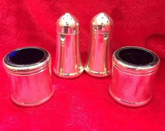 Plated silver pepper and salts, cruet set