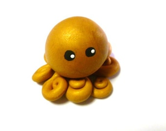 Awesome Little Octopus in Gold Rush Solid Colored Mini Marble Friend