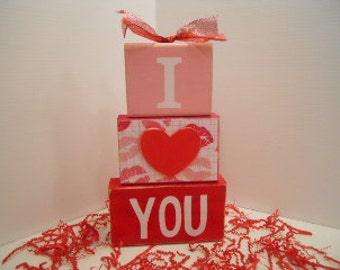 Valentines Day Word Block Stack Up, I Heart (Love) You