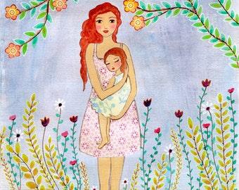 Mother Art - Motherhood Art Print - Mother and Child Painting - Nursery Wall Art