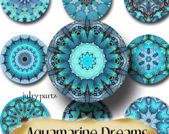 AQUAMARINE DREAMS•Chakra Mandalas•1x1 Circle•Printable Digital Image•Healing Mandalas•Magnets•Gift Tags•Yoga
