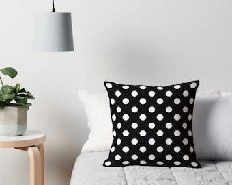 Polka Dot Pillow, Polka Dot Bedding, Polka Dot Cushion, Black Polka Dot Pillow, Polka Dot Pillow Cover, Polka Dot Throw Pillow, Polka Dots