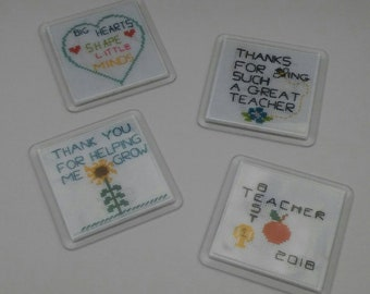 Teacher gift Cross stitch coasters with free gift bag and silver charm