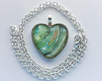 Green Heart Pendant Necklace, Silver Heart, Wearable Art, Heart Pendant, Glass heart, Christmas gifts for her,  Unique gifts for her, 133