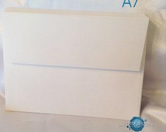 "Envelopes, White, blank,  Invitation Envelopes A7 blank pack of 25, 50   5.25"" x 7.25"" square flap, fits 5 x 7 invite"