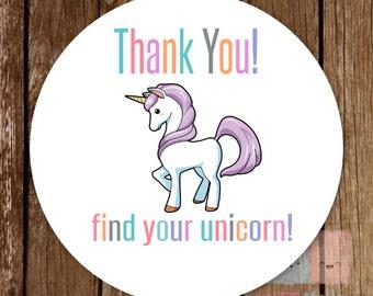 Unicorn Stickers Fashion Consultant -  1.5 inches - 30 pieces