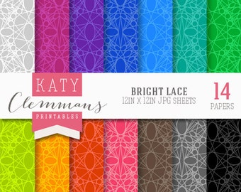 BRIGHT LACE digital paper pack, scrapbook printable sheets - instant download.