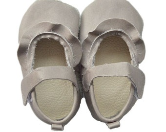Genuine Leather Baby Moccasins   Ruffled Strap leather shoes {Gray}