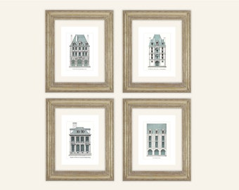 4 Set of French Architectural Illustrations with Blue Details Archival Quality Prints