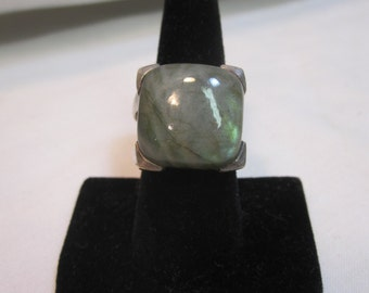 Sterling and Labradorite Double Band Ring