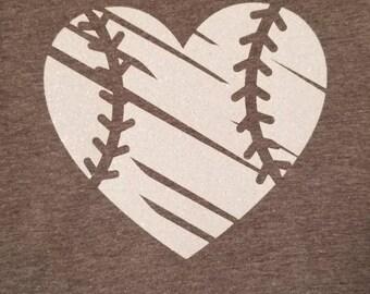 Distressed Heart Baseball shirt