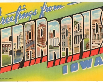 Linen Postcard, Greetings from Cedar Rapids, Iowa, Coliseum, Large Letter, ca 1945
