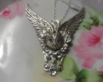 Owl Necklace Victorian Necklace Steampunk Necklace Owl Angel wing necklace silver necklace silver ox necklace Mythological necklace