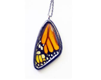 Real Butterfly Wing Necklace. Butterfly Jewelry. Monarch Pendant. Butterfly Necklace. Real Insect Jewelry Orange and Black Butterfly Pendant