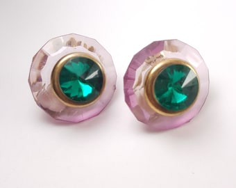 Vintage lucite clear purple green clip on earrings