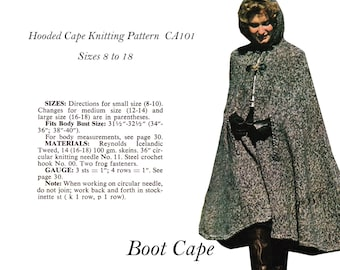 Cape Pattern Hooded Boot Cape Knitting Pattern PDF CA101