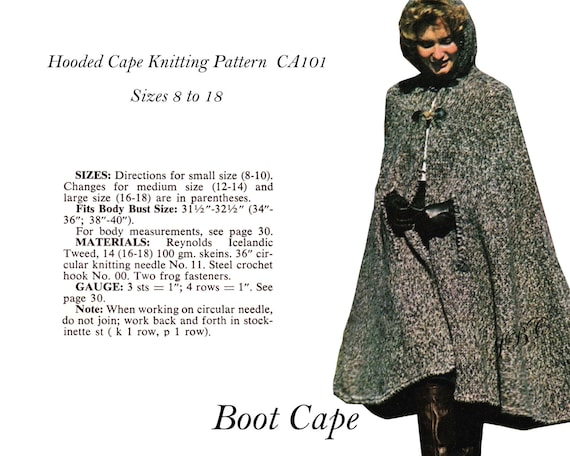 Cape pattern hooded boot cape knitting pattern pdf ca101 dt1010fo