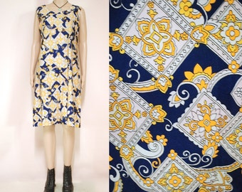 70s Vintage Blue Gold Dress Shift Mid Length Hippie Retro Sleeveless Graphic Print Light Weight 1970s Vtg M-L