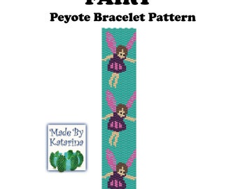 Peyote Pattern - Fairy - INSTANT DOWNLOAD PDF - Peyote Stitch Bracelet Pattern - Two Drop Even Peyote Stitch - Fairy Pattern