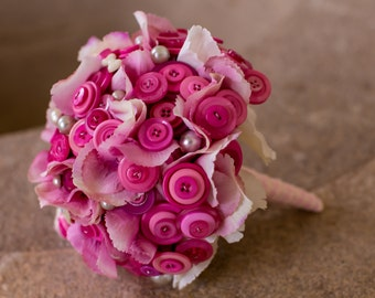 Pink flower and button bridal bouquet 'becky'