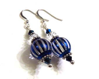 Blue Striped Earrings With Swarovski Crystals, Blue Earrings, Blue Crystal Earrings